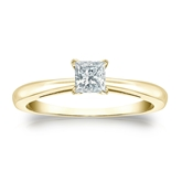 Certified 14k Yellow Gold 4-Prong Princess Diamond Solitaire Ring 0.33 ct. tw. (H-I, I1)