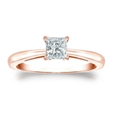 Certified 14k Rose Gold 4-Prong Princess Diamond Solitaire Ring 0.50 ct. tw. (I-J, I1-I2)