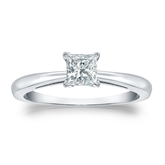 Certified 18k White Gold 4-Prong Princess Diamond Solitaire Ring 0.50 ct. tw. (I-J, I1-I2)
