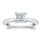 Certified 14k White Gold 4-Prong Princess Diamond Solitaire Ring 0.75 ct. tw. (G-H, VS1-VS2)