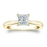Certified 14k Yellow Gold 4-Prong Princess Diamond Solitaire Ring 0.75 ct. tw. (I-J, I1-I2)
