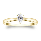 Certified 14k Yellow Gold V-End Prong Pear Diamond Solitaire Ring 0.33 ct. tw. (H-I, I1)