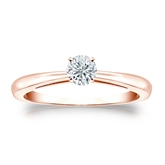 Certified 14k Rose Gold 4-Prong Round Diamond Solitaire Ring 0.25 ct. tw. (H-I, SI1-SI2)