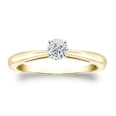 Certified 14k Yellow Gold 4-Prong Round Diamond Solitaire Ring 0.25 ct. tw. (G-H, SI2)