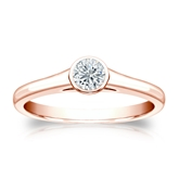 Certified 14k Rose Gold Bezel Round Diamond Solitaire Ring 0.25 ct. tw. (I-J, I1-I2)