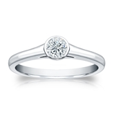Certified 14k White Gold Bezel Round Diamond Solitaire Ring 0.25 ct. tw. (J-K, I2)