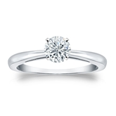 Certified 14k White Gold 4-Prong Round Diamond Solitaire Ring 0.50 ct. tw. (G-H, VS2)