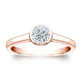 Certified 14k Rose Gold Bezel Round Diamond Solitaire Ring 0.50 ct. tw. (H-I, SI1-SI2)