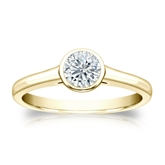 Certified 18k Yellow Gold Bezel Round Diamond Solitaire Ring 0.50 ct. tw. (G-H, VS1-VS2)