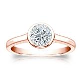 Certified 14k Rose Gold Bezel Round Diamond Solitaire Ring 0.75 ct. tw. (I-J, I1-I2)