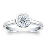 Certified 14k White Gold Bezel Round Diamond Solitaire Ring 0.75 ct. tw. (I-J, I1-I2)