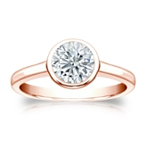 Certified 14k Rose Gold Bezel Round Diamond Solitaire Ring 1.00 ct. tw. (G-H, VS2)