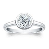 Certified 18k White Gold Bezel Round Diamond Solitaire Ring 1.00 ct. tw. (I-J, I1-I2)