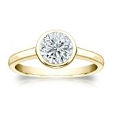 Certified 14k Yellow Gold Bezel Round Diamond Solitaire Ring 1.00 ct. tw. (I-J, I1-I2)