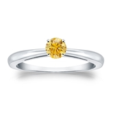 Certified Platinum 4-Prong Yellow Diamond Solitaire Ring 0.25 ct. tw. (Yellow, SI1-SI2)