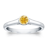 Certified Platinum Bezel Round Yellow Diamond Ring 0.25 ct. tw. (Yellow, SI1-SI2)