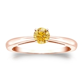 Certified 14k Rose Gold 4-Prong Yellow Diamond Solitaire Ring 0.33 ct. tw. (Yellow, SI1-SI2)