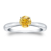 Certified 14k White Gold 4-Prong Yellow Diamond Solitaire Ring 0.50 ct. tw. (Yellow, SI1-SI2)