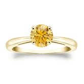Certified 18k Yellow Gold 4-Prong Yellow Diamond Solitaire Ring 0.75 ct. tw. (Yellow, SI1-SI2)