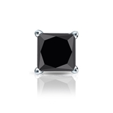 Certified 14k White Gold 4-Prong Basket Princess Black Diamond Single Stud Earring1.50 ct. tw.