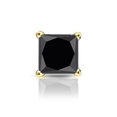 Certified 18k Yellow Gold 4-Prong Basket Princess Black Diamond Single Stud Earring1.75 ct. tw.