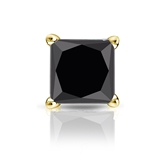 Certified 18k Yellow Gold 4-Prong Basket Princess Black Diamond Single Stud Earring 2.00 ct. tw.