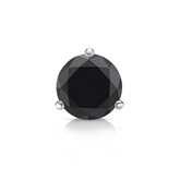 Certified 14k White Gold 3-Prong Martini Round Black Diamond Single Stud Earring1.00 ct. tw.