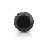Certified Platinum 4-Prong Basket Round Black Diamond Single Stud Earring1.50 ct. tw.