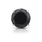 Certified 14k White Gold 4-Prong Basket Round Black Diamond Single Stud Earring 2.00 ct. tw.