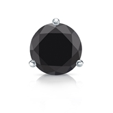 Certified 14k White Gold 3-Prong Martini Round Black Diamond Single Stud Earring 2.00 ct. tw.