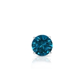 Certified 14k White Gold 4-Prong Basket Round-Cut Men's Blue Diamond Single Stud Earring 0.25 ct. tw. (Blue, I1-I2)