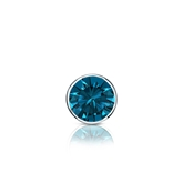Certified 14k White Gold Bezel Round Blue Diamond Single Stud Earring 0.25 ct. tw. (Blue, I1-I2)