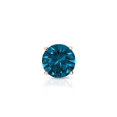 Certified 14k Rose Gold 4-Prong Basket Round Blue Diamond Single Stud Earring 0.38 ct. tw. (Blue, I1-I2)