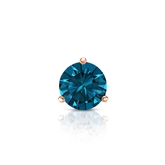 Certified 14k Rose Gold 3-Prong Martini Round Blue Diamond Single Stud Earring 0.38 ct. tw. (Blue, I1-I2)