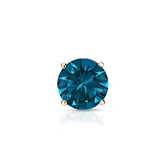 Certified 14k Rose Gold 4-Prong Basket Round Blue Diamond Single Stud Earring 0.50 ct. tw. (Blue, I1-I2)