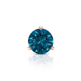 Certified 14k Rose Gold 3-Prong Martini Round Blue Diamond Single Stud Earring 0.50 ct. tw. (Blue, I1-I2)