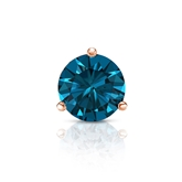 Certified 14k Rose Gold 3-Prong Martini Round Blue Diamond Single Stud Earring 0.75 ct. tw. (Blue, I1-I2)