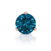 Certified 14k Rose Gold 3-Prong Martini Round Blue Diamond Single Stud Earring 1.00 ct. tw. (Blue, I1-I2)