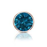 Certified 14k Rose Gold Bezel Round Blue Diamond Single Stud Earring 1.00 ct. tw. (Blue, SI1-SI2)