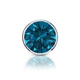 Certified 18k White Gold Bezel Round Blue Diamond Single Stud Earring 1.00 ct. tw. (Blue, SI1-SI2)
