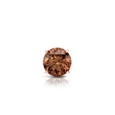Certified 14k Rose Gold 4-Prong Basket Round Brown Diamond Single Stud Earring 0.25 ct. tw. (Brown, SI1-SI2)