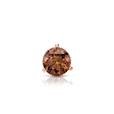 Certified 14k Rose Gold 3-Prong Martini Round Brown Diamond Single Stud Earring 0.25 ct. tw. (Brown, SI1-SI2)