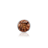 Certified Platinum Bezel Round Brown Diamond Single Stud Earring 0.25 ct. tw. (Brown, SI1-SI2)