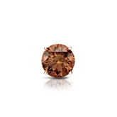 Certified 14k Rose Gold 4-Prong Basket Round Brown Diamond Single Stud Earring 0.38 ct. tw. (Brown, SI1-SI2)