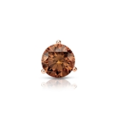 Certified 14k Rose Gold 3-Prong Martini Round Brown Diamond Single Stud Earring 0.38 ct. tw. (Brown, SI1-SI2)