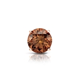 Certified 14k Rose Gold 4-Prong Basket Round Brown Diamond Single Stud Earring 0.50 ct. tw. (Brown, SI1-SI2)