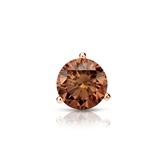 Certified 14k Rose Gold 3-Prong Martini Round Brown Diamond Single Stud Earring 0.50 ct. tw. (Brown, SI1-SI2)