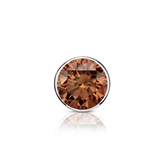 Certified Platinum Bezel Round Brown Diamond Single Stud Earring 0.50 ct. tw. (Brown, SI1-SI2)