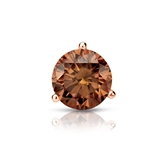 Certified 14k Rose Gold 3-Prong Martini Round Brown Diamond Single Stud Earring 0.75 ct. tw. (Brown, SI1-SI2)