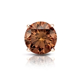 Certified 14k Rose Gold 4-Prong Basket Round Brown Diamond Single Stud Earring 1.25 ct. tw. (Brown, SI1-SI2)